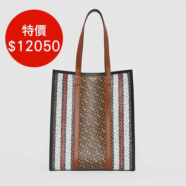 日本代購-BURBERRY 條紋環保帆布托特包手提袋 agnes b.,東區時尚,托特包