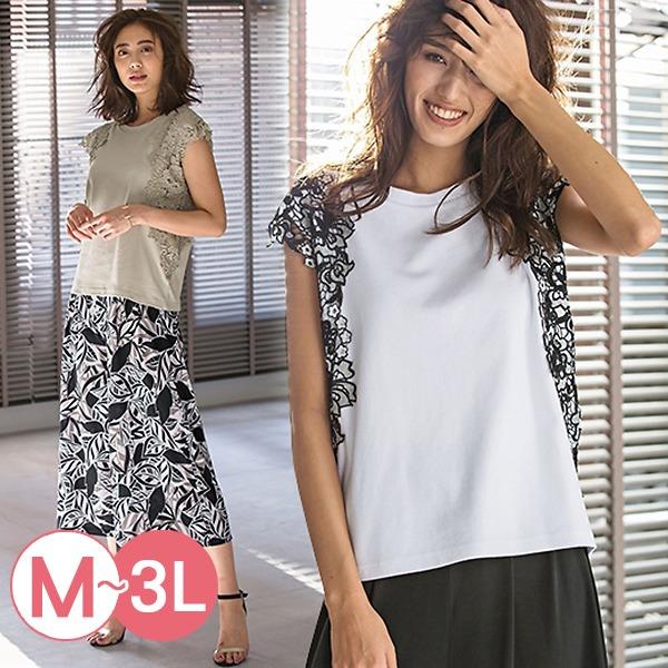 日本代購-portcros雅緻拼接蕾絲袖上衣3L(共四色) 日本代購,portcros,蕾絲