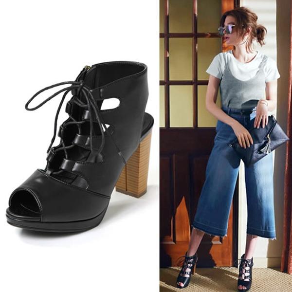 現貨-ViVi雜誌 綁帶高跟魚口鞋(黑色/24.5cm) 日本代購,ViVi雜誌,綁帶高跟魚口鞋