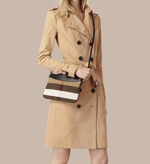 日本代購-BURBERRY 2way格紋拼皮革肩背包 agnes b.,東區時尚,皮夾
