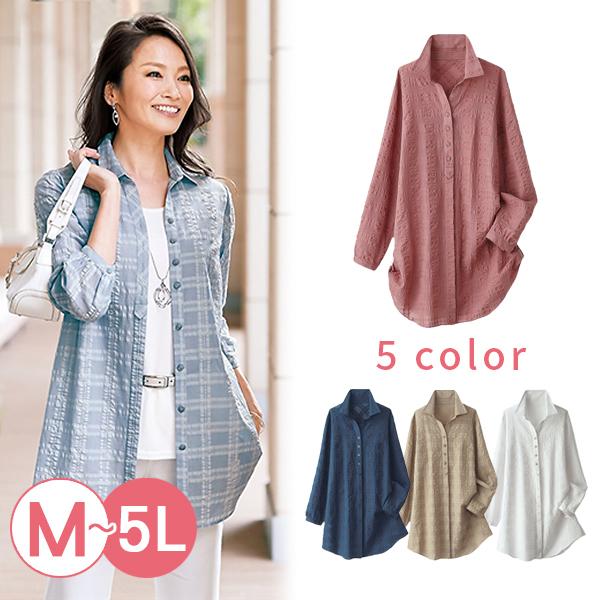 日本代購-portcros透膚立體格紋長版襯衫(共五色/3L-5L) 日本代購,portcros,格紋