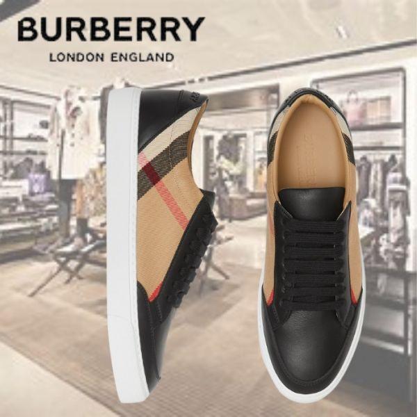 Burberry House 格紋皮革運動鞋(售價已折) BURBERRY 經典格紋配皮休閒鞋
