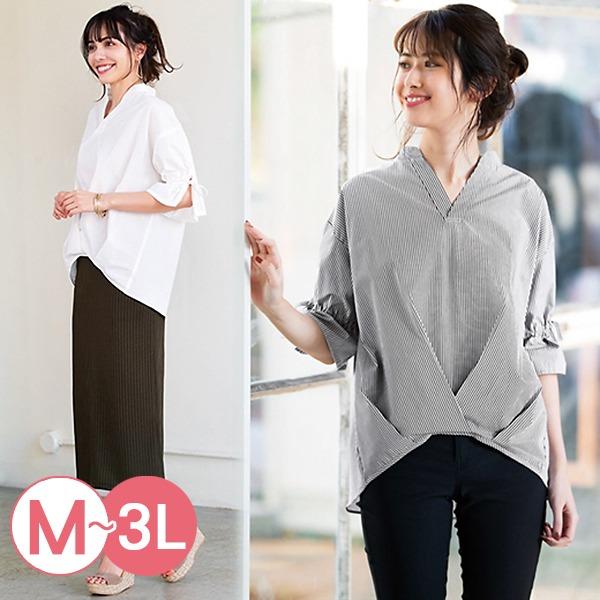 日本代購-portcros前短後長折縫造型襯衫3L(共三色) 日本代購,portcros,襯衫