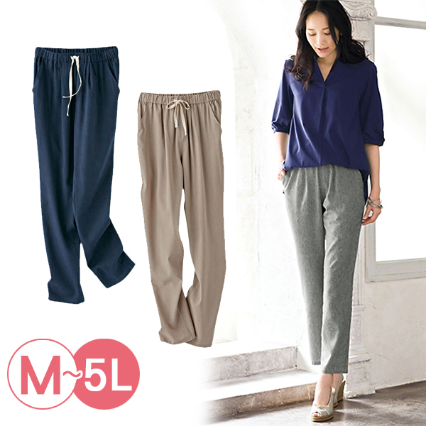 日本代購-portcros抽繩鬆緊腰折縫長褲3L-5L(共五色) 日本代購,portcros,抽繩