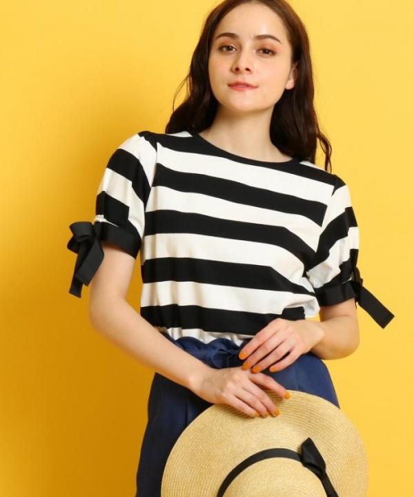 日本代購-Couture Brooch緞帶蝴蝶結袖寬條紋上衣(售價已折) 日本代購,Couture Brooch,緞帶,蝴蝶結,條紋,上衣