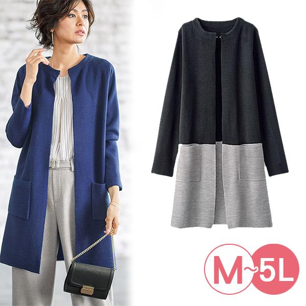日本代購-portcros質感米蘭諾羅紋針織無領外套(共二色/3L-5L) 日本代購,portcros,針織