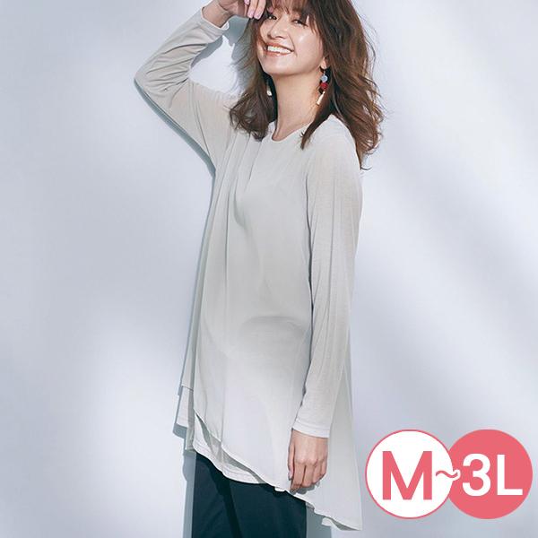 日本代購-優雅層次設計長版雪紡上衣(共五色/M-LL) 日本代購,長版,雪紡