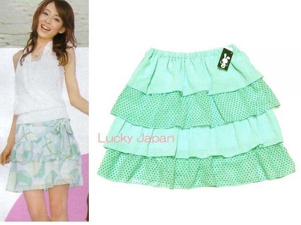 日本CIELO 現貨-雙色點點蛋糕裙(綠色/M) 日本代購