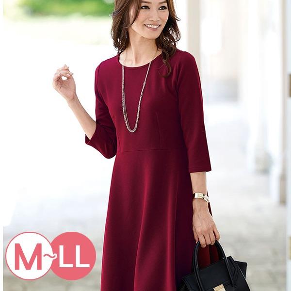 現貨-portcros優雅折縫七分袖連身洋裝(酒紅色/M-L) 日本代購,portcros,洋裝