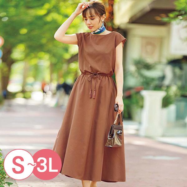 日本代購-優雅流蘇抽繩連身洋裝(共三色/3L) 日本代購,洋裝