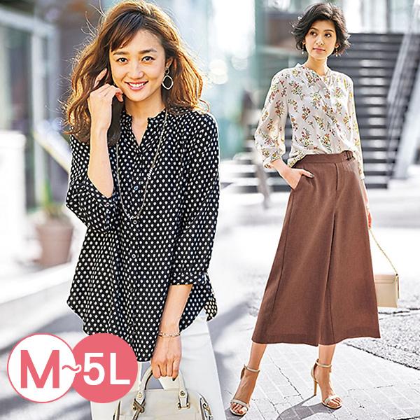 日本代購-portcros優雅垂墜感泡泡袖印花襯衫(共四色/3L-5L) 日本代購,portcros,泡泡袖