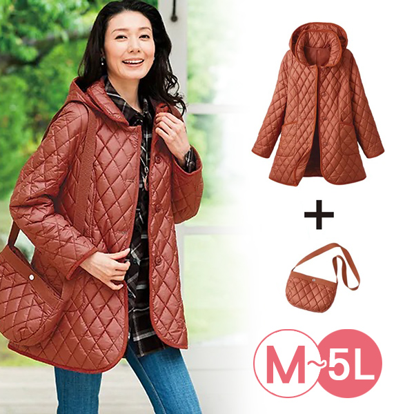 日本代購-附背包防風保暖鋪棉外套(共三色/3L-5L) 日本代購,防風,鋪棉