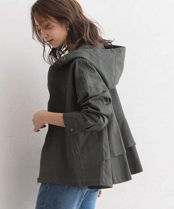 日本代購-背荷葉造型棉質風衣短外套(售價已折) 日本代購,風衣,外套