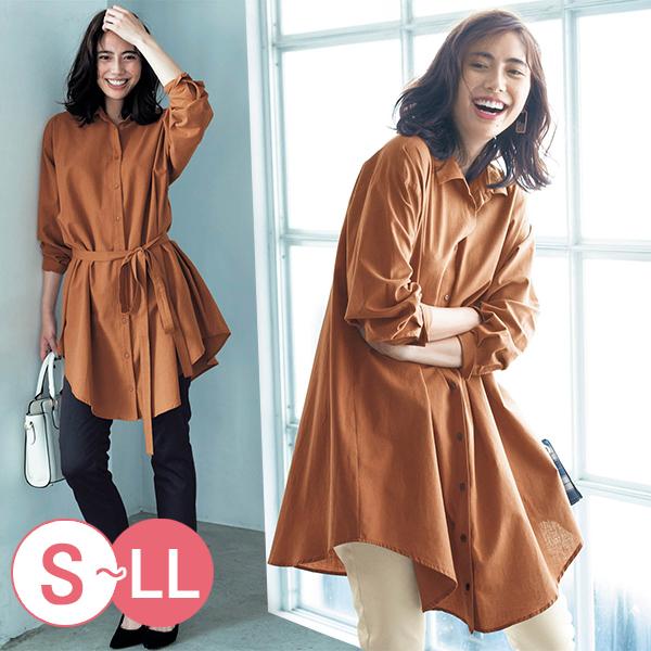 日本代購-2WAY不規則繫帶折縫長版襯衫(S-LL) 日本代購,襯衫
