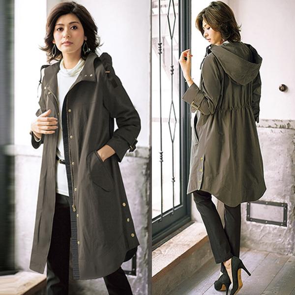 日本代購-portcros附可拆綿裡&帽子後束腰長外套(共四色/3L-5L) 日本代購,portcros,長外套