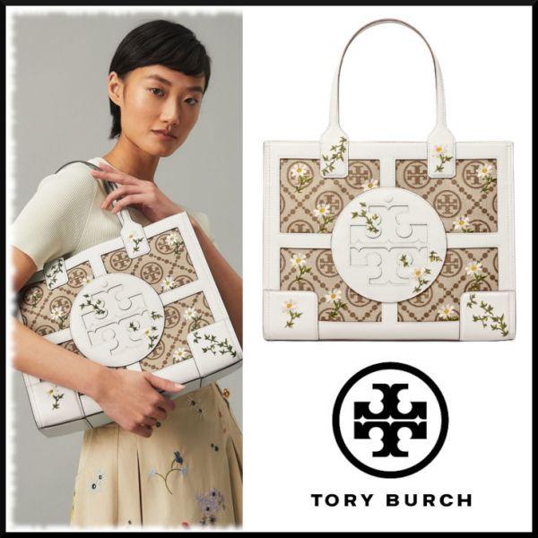 TORY BURCHElla T monogram embroidered mini tote bag花色配皮托特包 TORY BURCH Tote