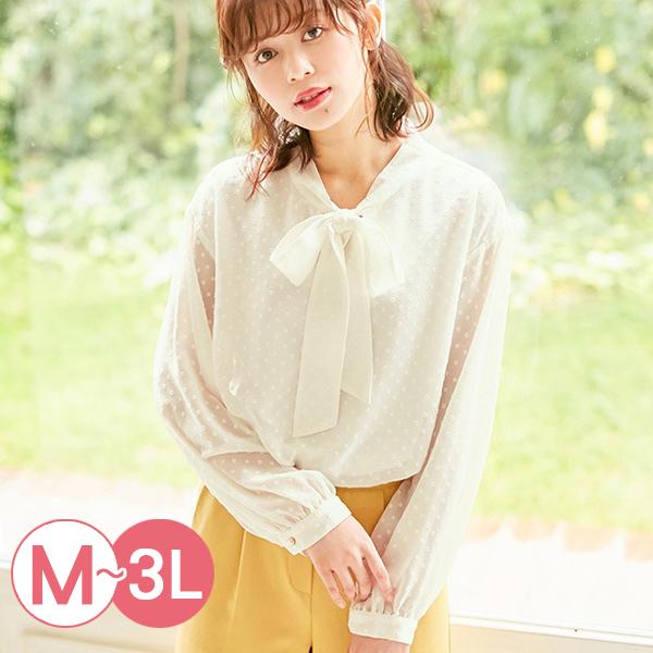 日本代購-portcros高雅圓點小提花領巾雪紡襯衫(共三色/M-LL) 日本代購,portcros,雪紡