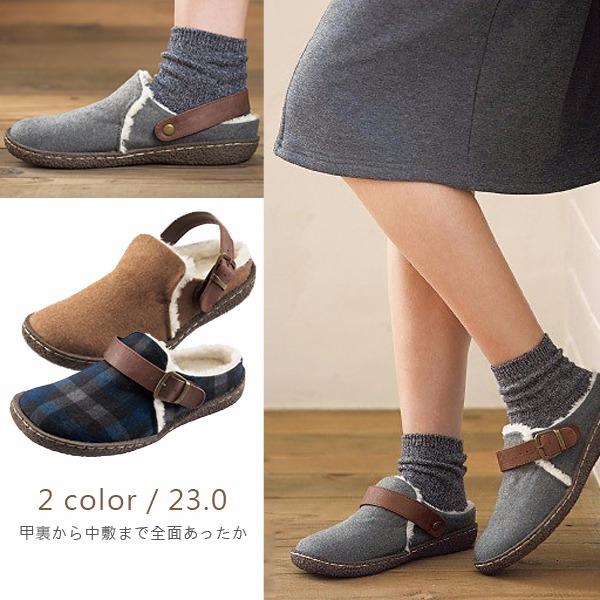 現貨-日本代購 2WAY毛呢內鋪毛皮帶釦彈力底拖鞋(共二色/23.0) 日本空運,東區時尚,日本代購,2WAY,鋪毛,皮帶釦,毛呢,彈力底,拖鞋