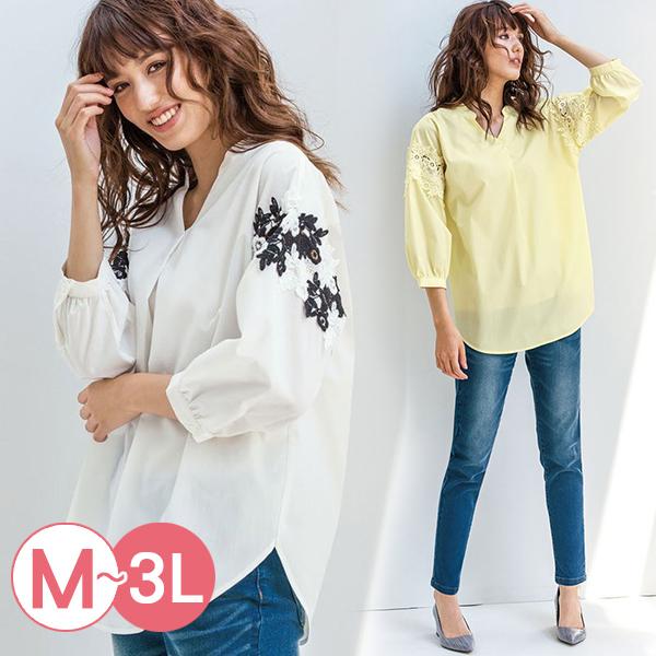 日本代購-portcros立體蕾絲拼接折縫襯衫(共四色/3L) 日本代購,portcros,蕾絲