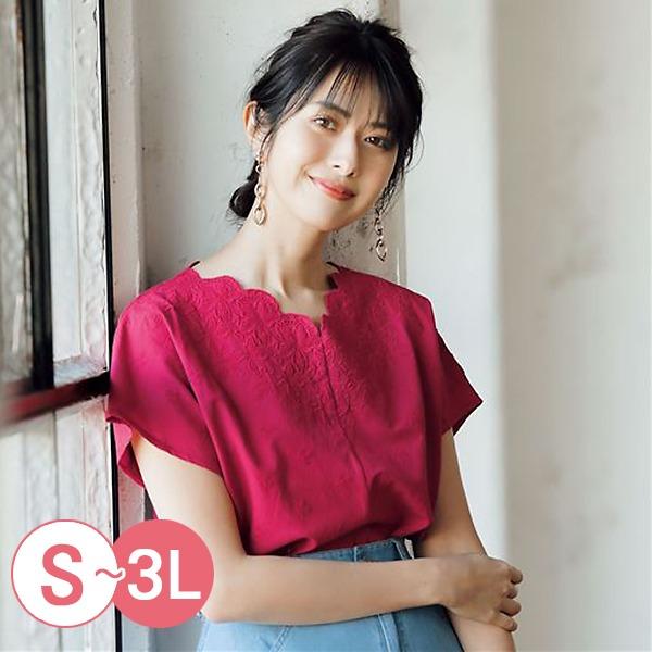 日本代購-cecile雅緻花瓣領口刺繡上衣S-LL(共三色) 日本代購,CECILE,刺繡