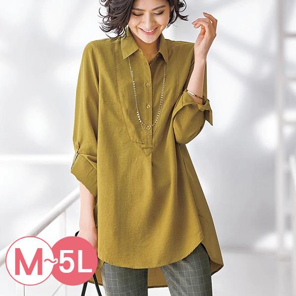 日本代購-前短後長半開襟長版襯衫(共四色/M-LL) 日本代購,長版,前短後長