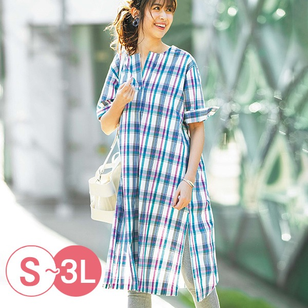 日本代購-portcros半開襟折縫無領長版襯衫洋裝(共三色/M-LL) 日本代購,portcros,長版