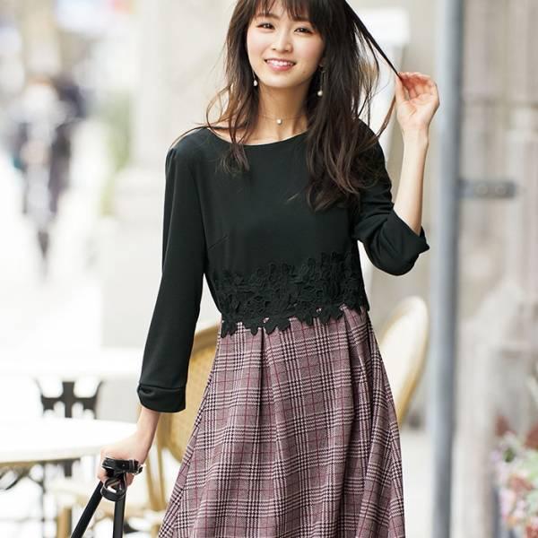 日本代購-袖蝴蝶結腰蕾絲綴飾洋裝(共二色/S-LL)(售價已折) 日本代購,洋裝