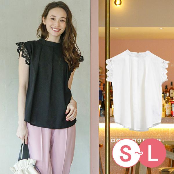 日本代購-蕾絲連肩袖立領折縫上衣(共二色/S-L) 日本代購,蕾絲,立領
