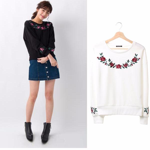 現貨-INGNI玫瑰花刺繍針織毛衣(白色/M) 日本代購,INGNI,針織