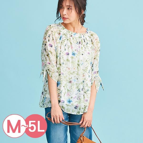 日本代購-portcros領口抽褶綁結袖印花罩衫M-LL(共二色) 日本代購,portcros,印花