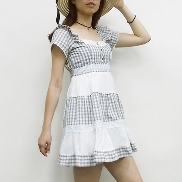 日本ANNA LUNA 現貨-鄉村風滾邊蕾絲格紋小洋裝 日本,ANNA LUNA,連身裙