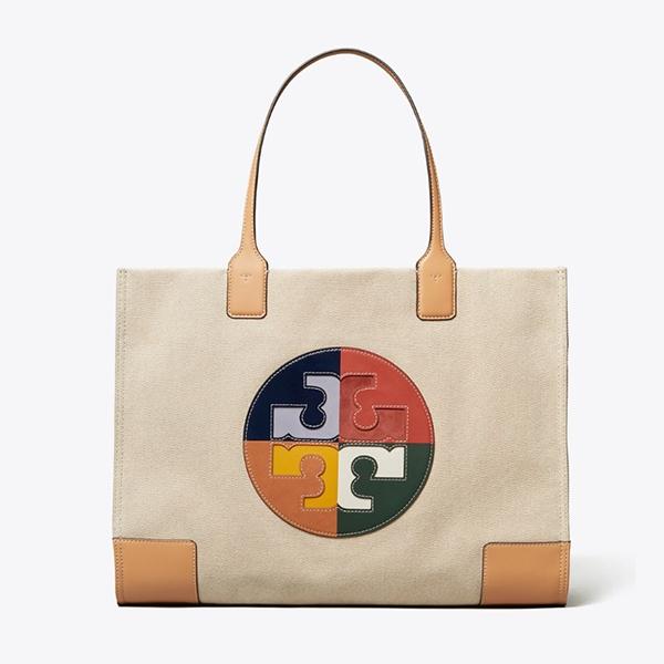 日本代購-Tory Burch ELLA 彩色拼接logo托特包 agnes b.,東區時尚,TB包