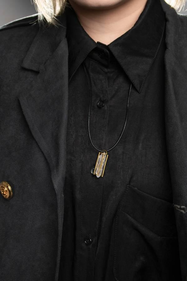 【困獸的理想】黃銅雙尖水晶原礦項鍊墜頭