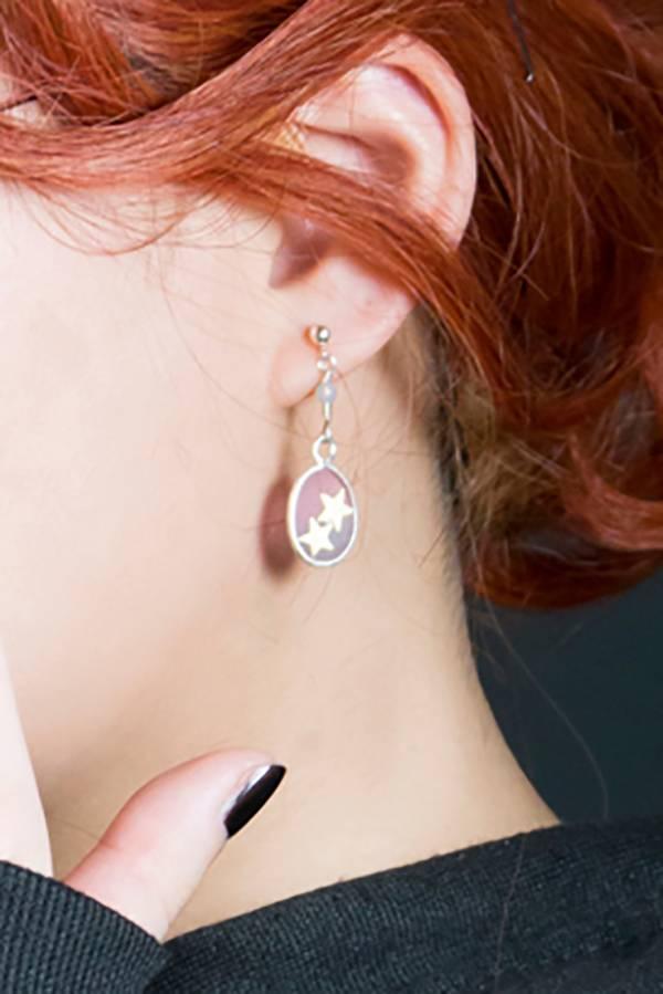 [ 005-Unearthed ] 單只925銀黃銅鑲嵌針式耳環─星款