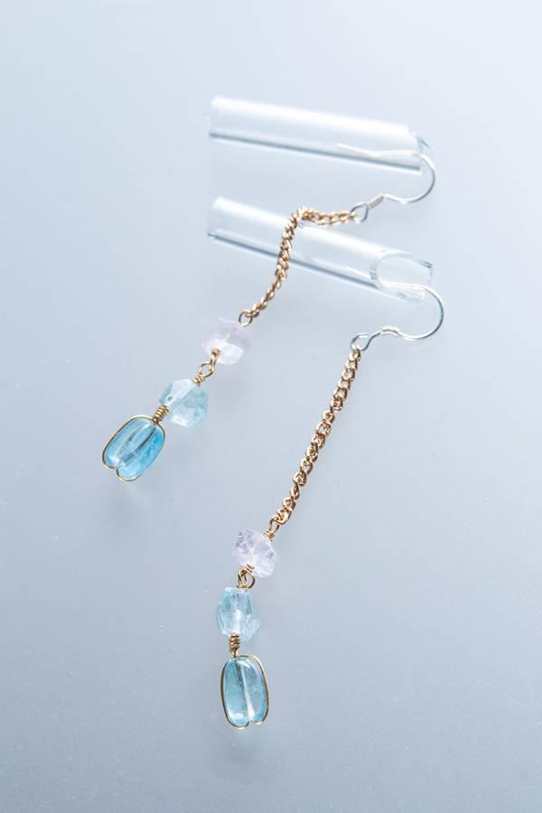 【金色牢籠】海藍寶石摩根石925銀耳環 海水藍寶,耳環