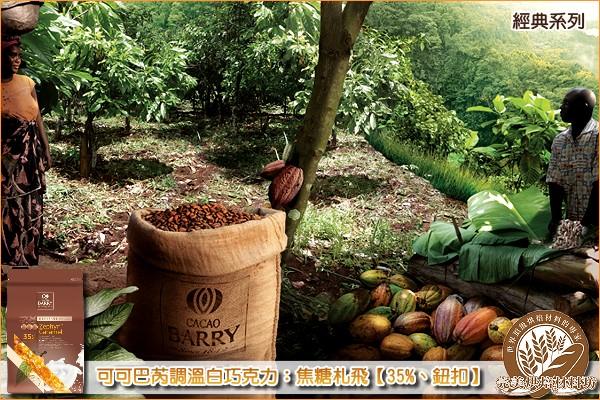 《分裝》法國可可巴芮經典調溫白巧克力:焦糖札飛【35%、鈕扣】1000g 可可巴芮,Cacao Barry,白巧克力,白色巧克力