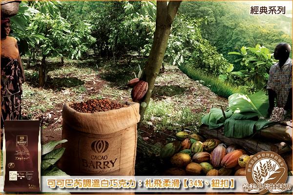 《分裝》法國可可巴芮經典調溫白巧克力:札飛柔滑【34%、鈕扣】1000g 可可巴芮,Cacao Barry,白巧克力,白色巧克力