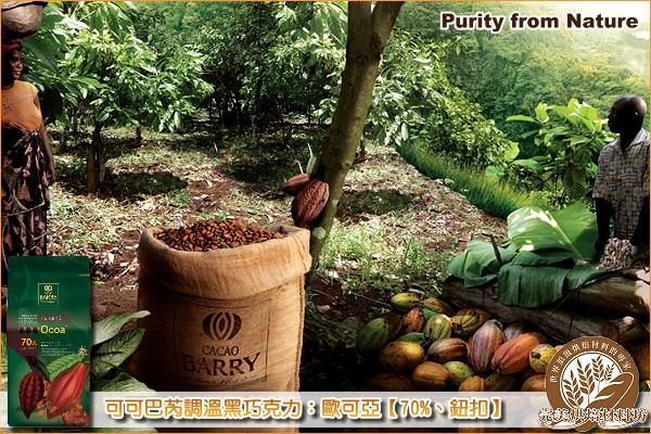 《分裝》法國可可巴芮 Purity from Nature 調溫黑巧克力:歐可亞【70%、鈕扣】1000g 可可巴芮,Cacao Barry,黑巧克力,苦甜巧克力