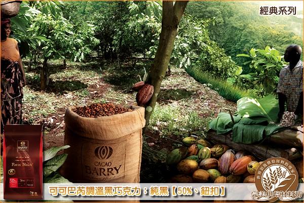 《分裝》法國可可巴芮經典調溫黑巧克力:純黑【50%、鈕扣】1000g 可可巴芮,Cacao Barry,黑巧克力,苦甜巧克力