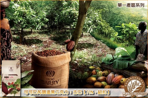 《原裝》法國可可巴芮單一產區調溫黑巧克力:古巴【70%、鈕扣】1000g 可可巴芮,Cacao Barry,黑巧克力,苦甜巧克力
