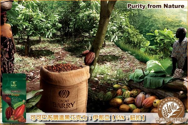 《分裝》法國可可巴芮 Purity from Nature 調溫黑巧克力:伊那亞【65%、鈕扣】200g 可可巴芮,Cacao Barry,黑巧克力,苦甜巧克力