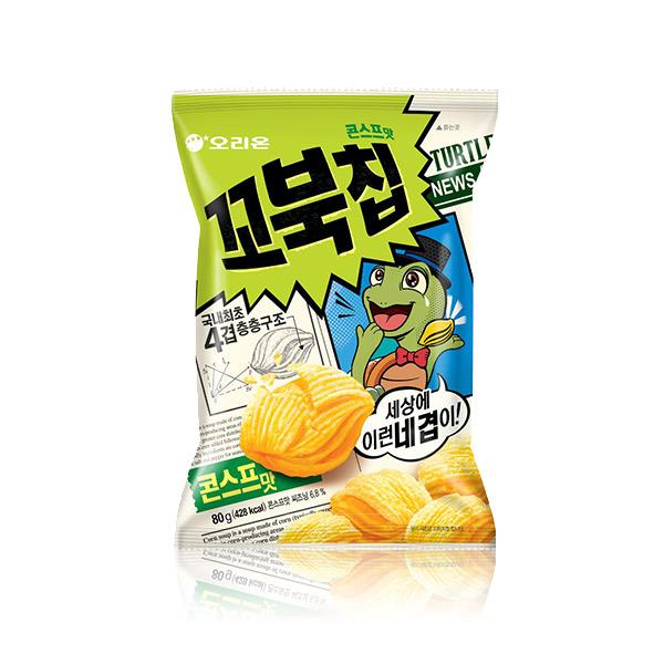 好麗友 烏龜餅乾(玉米濃湯)80g 韓國進口,烏龜餅乾,玉米濃湯,四層,酥脆餅乾,餅乾,零食,COSTCO零食