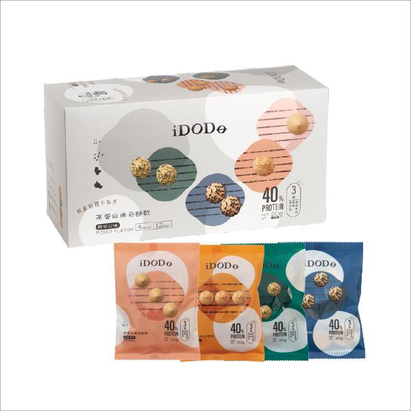 iDODO高蛋白曲奇餅乾-四分音符1盒組(12入) 擁有三十年以上烘焙經驗的研發團隊,為了達成健康美味的訴求,使用最複雜的程序,最終才得以達成「三無」的純精技術。iDODO高蛋白曲奇餅乾,在專業與美味之中取得平衡,讓您吃的安心,更吃的開心。
