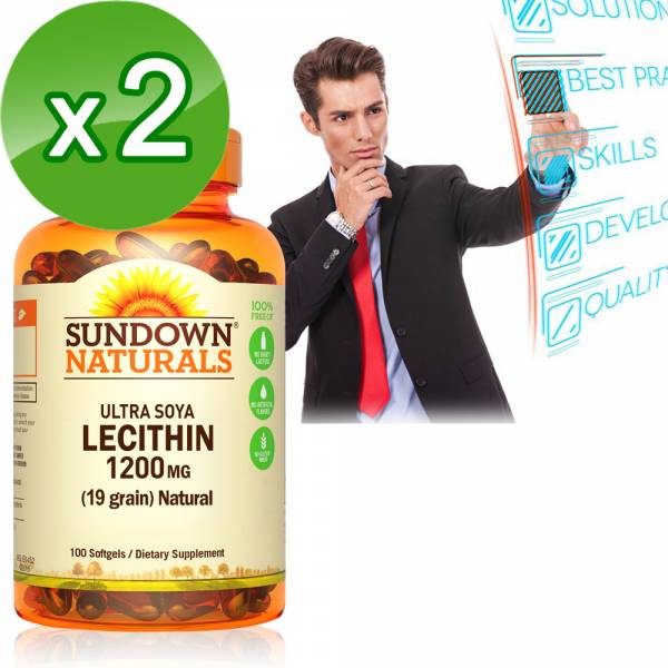 Sundown日落恩賜 頂級61%卵磷脂膠囊(100粒x2瓶)組 卵磷脂,哺乳,磷脂質,腦神經系統