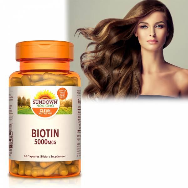 Sundown日落恩賜 生物素5000mcg+鈣膠囊(60粒/瓶) 掉髮,禿頭,生物素,維生素H,新陳代謝