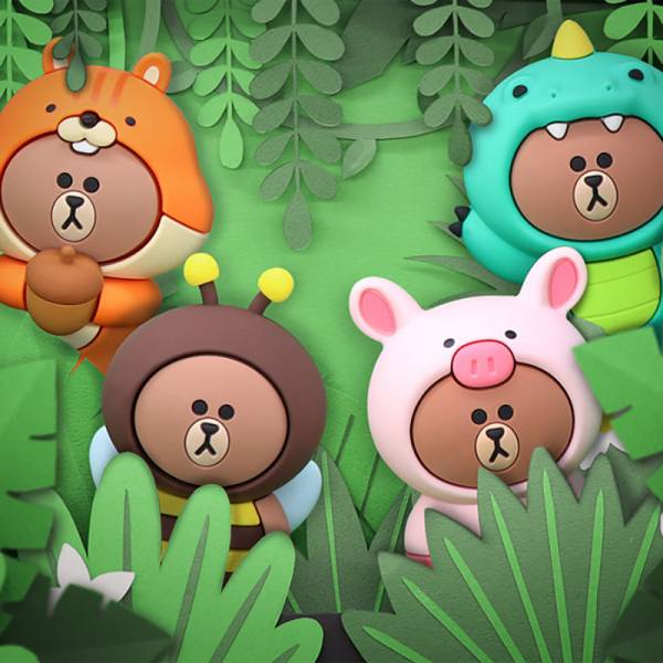 LINE FRIENDS 布朗熊叢林系列 熊大變裝可愛動物 LINE,FRIENDS,叢林,熊大,莎莉,兔兔,布朗熊