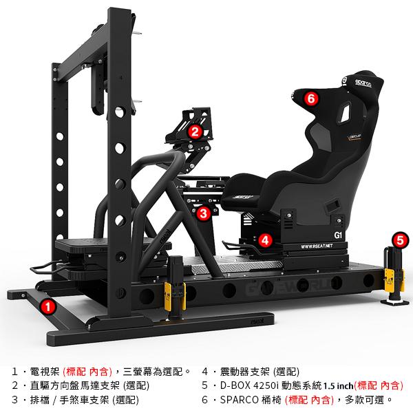 【FiA唯一推薦】 D-BOX 動態模擬器 RSEAT G1 賽車架 + SPARCO 桶椅 / G1 1500 /直驅馬達推薦 賽車架,賽車椅,桶椅,直驅,動態模擬,賽車,方向盤,GT,simagic