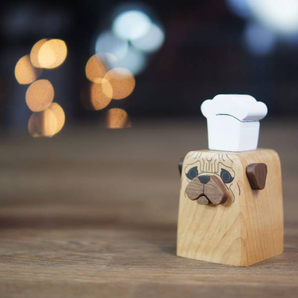 Faithful Dog designed Cruet -PUG wood, wood cruet