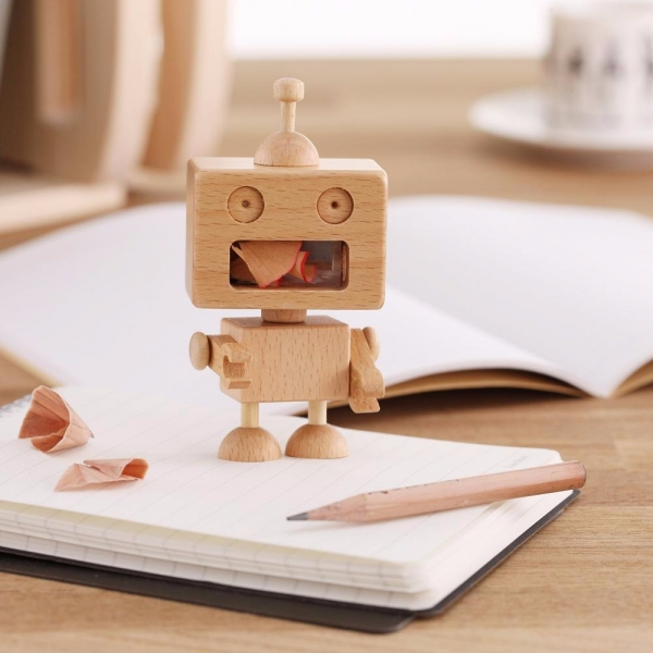 Robot Pencil Sharpener wood, woodwork, pencil sharpener, stationery