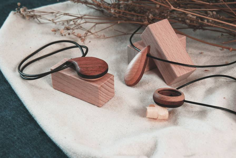 Wood Necklace  Wood, woodwork, clock, wooden necklace, necklace with pendant.